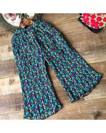 Blue Pleated Floral Palazzo Pants-babycouture.in