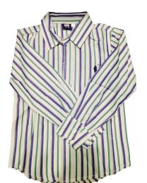 Blue Green Striped Polo Shirt-babycouture.in