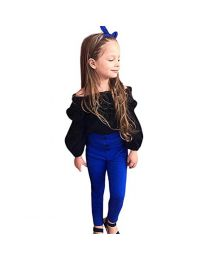 Blue Off Shoulder Kids Party Shirt-babycouture.in