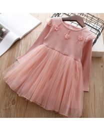 Blush Pink Autumn Flowery Princess Dress-babycouture.in