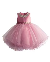 Blush Pink Starry Kids Party Dress-babycouture.in