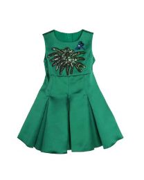 Bottle Green Sequin Kids Dress-babycouture.in