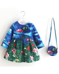 Butterfly & Flowers Printed Kids Dress With Bag-babycouture.in