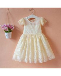 Champagne Beige Lace Kids Summer Dress-babycouture.in