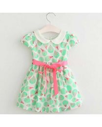 Charming Green Leafy Kids Summer Dress-babycouture.in