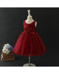 Cindy Wine Kids Party Frock-babycouture.in
