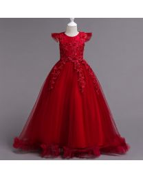 Cindy Wine Kids Party Gown - babycouture.in