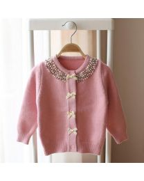 Cozy Kids Pink Pearl Cardigan-babycouture.in
