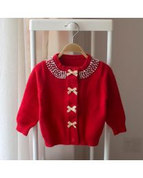 Cozy Kids Red Pearl Cardigan-babycouture.in
