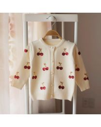 Cream Cherries Lovely Kids Cardigan-babycouture.in