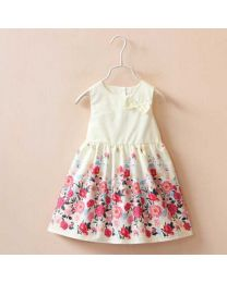 Cute Floral Bow Creme Kids Frock-babycouture.in