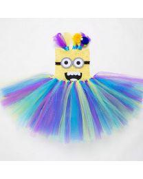 Cute Minion Multi Colored Tutu Dress-babycouture.in