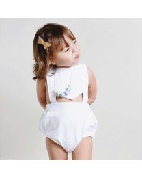 Cute White Baby Romper Jumpsuit-babycouture.in