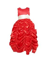 Dache Rose Red Ruffled Kids Princess Gown-babycouture.in