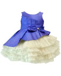 Darlee & Dache Blue Designer Pleats Kids Party Dress-babycouture.in