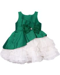 Darlee & Dache Dark Green Multi Layered Frilly Kids Party Dress-babycouture.in