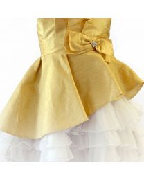 Darlee & Dache Gold Rhinestone Net Flare Kids Party Dress-babycouture.in