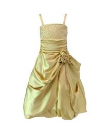 Darlee & Dache Gold Rhinestones Victorian Kids Party Gown-babycouture.in