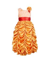 Darlee & Dache Golden Ruffled Kids Princess Gown-babycouture.in