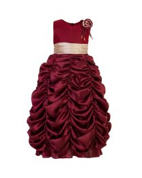 Darlee & Dache Maroon Ruffled Kids Party Gown-babycouture.in