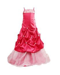 Darlee & Dache Maroon Two Tiered Kids Party Gown-babycouture.in