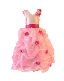 Darlee & Dache Pink Layered Kids Ball Gown-babycouture.in