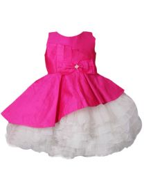 Darlee & Dache Pink Multi Layered Big Bow Kids Party Dress-babycouture.in