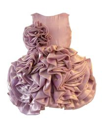 Darlee & Dache Pink Ruffled Fluffy Flare Kids Party Dress-babycouture.in