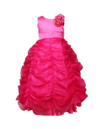Darlee & Dache Pink Ruffled Kids Princess Gown-babycouture.in