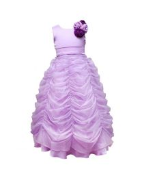 Darlee & Dache Purple Ruffled Kids Ball Gown-babycouture.in