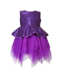 Darlee & Dache Purple Peplum Style Sequin Kids Party Dress-babycouture.in