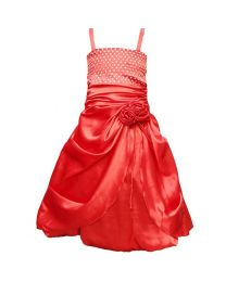 Darlee & Dache Red Rhinestones Victorian Kids Party Gown-babycouture.in