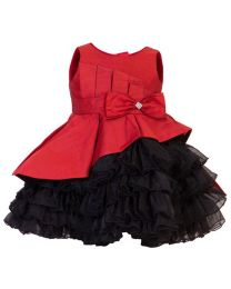 Darlee & Dache Red Rosy Frilly Kids Party Dress-babycouture.in