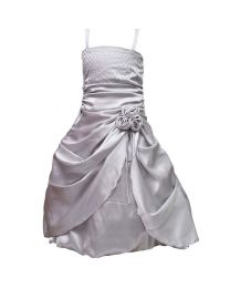 Darlee & Dache Silver Rhinestones Victorian Kids Party Gown-babycouture.in