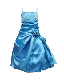 Darlee & Dache Light Blue Rhinestones Victorian Kids Party Gown-babycouture.in