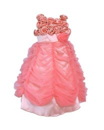 Darlee & Dache Peach Floral Garden Kids Party Gown-babycouture.in