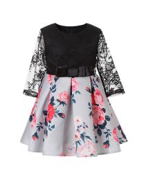 Diana Black & Floral Kids Dress-babycouture.in