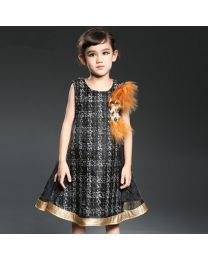 Diva Black Plaided Feather Brooch Autumn Dress-babycouture.in