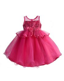 Diva Hot Pink Sequin Kids Party Dress-babycouture.in