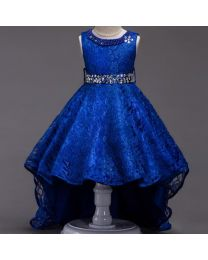 Electric Blue Pearls Neck High Low Party Dress-babycouture.in