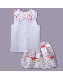 Elegant Print Summer Party Skirt Set-babycouture.in