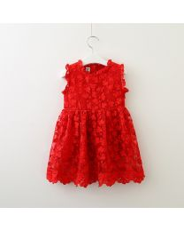Elegant Red Thread Embroidered Kids Dress-babycouture.in