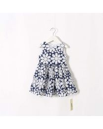 Elegant Blue Embroidered & Lace Summer Dress-babycouture.in