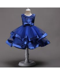 Elegant Blue Rose Pearl Kids Dress-babycouture.in