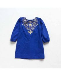 Elegant Embroidered Blue Cotton Dress-babycouture.in