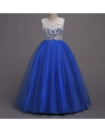 Elegant Lace Electric Blue Kids Gown-babycouture.in