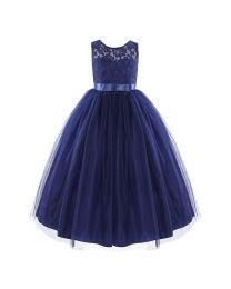 Elegant Lace & Tulle Blue Girls Gown-babycouture.in