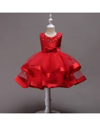 Elegant Red Rose Pearl Kids Dress--babycouture.in