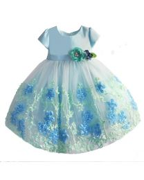 Elsa Blue 3 D Floral Dress