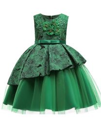 Emerald Green Harper Kids Dress-babycouture.in